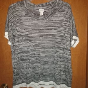 Chico black n gray stripped blouse swoop neck
